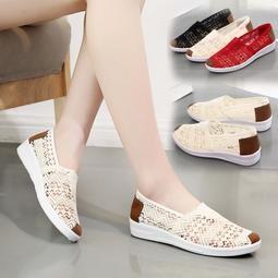 (滿千折百+免運)韓版網面帆布女鞋運動鞋女休閒鞋透氣網鞋平底單鞋子女鞋❤❤島上人間