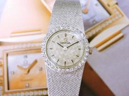 原裝真品 正14K白K金 OMEGA 歐米茄 手上鍊機械原鑲鑽珠寶古董手鍊女鑽錶