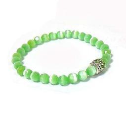 秋香綠角度貓眼珠與水鑽珠彈性手環