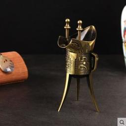 仿古代青銅爵杯擺件創意三角器復古帝王酒樽