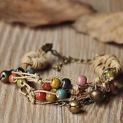 陶瓷手鍊串珠手環波希米亞民族風復古生日情人節 女飾品3 色73gw23  米蘭