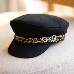 704645462dbb9 冬天帽子女韓版潮時尚百搭呢子豹紋皮帶裝飾平頂