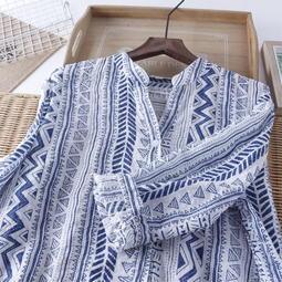 民族風印花七分袖棉麻襯衫 V領微透氣質簡約超薄女襯衫