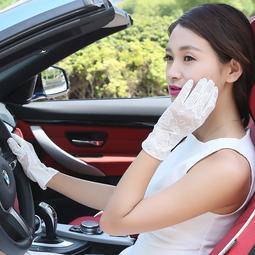 超商三件免運 防曬袖套 夏季蕾絲防曬手套女開車用薄短款防滑防紫外線新款韓版蕾絲手套