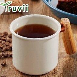 Truvii 木柄琺瑯杯/木頭琺瑯杯/琺瑯咖啡杯/日系雜貨風馬克杯 400ml月光白