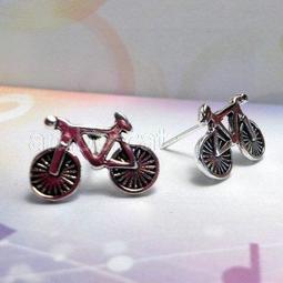 Sterling Silver Bike w//Rider Stud Earrings SE896