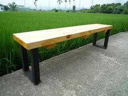 商用工業風長凳100%實木  6尺工業風長板凳 等候椅 手工原木凳, 180cm /3800元/張 , 中部免運費