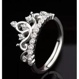 ~~秀秀購~~ S925 純銀銀戒指女款開口活口皇冠銀飾品刻字戒指求婚送禮M20051