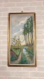 【卡卡頌 歐洲跳蚤市場/歐洲古董】法國老件_手繪 簽名 刷金 木框  老油畫 風景 油畫 pa0285