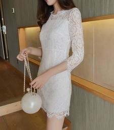 韓版 蕾絲連衣裙沙灘裙名媛氣質洋裝