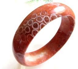 19.96圍/20圍天然橘紅色珊瑚玉手環超稀有億萬年的海底化石菊花石手鐲花型玉鐲鐲子有機寶石珠寶玉石首飾飾品