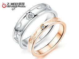 西洋白色情人節鈦鋼情侶對戒指生日送 可搭手環對項鍊刻字單個價~BKY496 ~Z MO 鈦