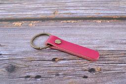 J-022 玫紅色 弧面釘 油皮真皮鑰匙圈 手工真皮鑰匙扣 復古高檔牛皮鑰匙圈 汽車真皮鑰匙圈 頭層油皮 兩色可選
