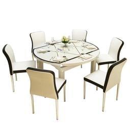 桌椅套裝 餐桌椅組合現代簡約伸縮折疊6人實木圓桌鋼化玻璃飯桌電磁爐餐桌