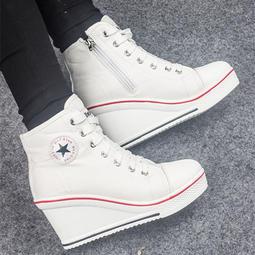 坡跟休閑白色帆布鞋學生內增高高跟韓版厚底拉鏈繫帶高幫鞋單鞋女