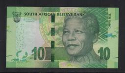 【低價外鈔】南非(2015)年10Rand紙鈔一枚,新版簽名,曼德拉肖像,少見!