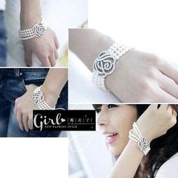 ☆* 魔衣子 *☆【QA275】玫瑰貼鑽珍珠造型手練。白