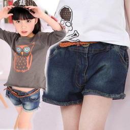 ~╮小衣衫S13 ╭~水洗毛邊牛仔短褲送編織皮帶