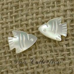 夏日風情 熱帶魚耳環 貝殼耳環 珍珠貝耳環 耳針耳環 流行飾品 約0.9x1.1公分 D7-18S
