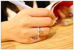 ~Fun 小物~ 香港正生銀飾925 純銀開口可調式戒指愛心水鑽蝴蝶結