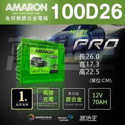 【愛馬龍100D26 】火速出貨 愛馬龍 AMARON 銀合金汽車電池 100D26L 100D26R