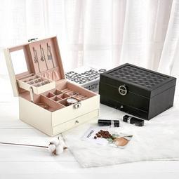 綸綸首飾盒 新款皮革珠寶首飾盒( 速出貨)韓版多層大容量飾品收纳盒多功能首飾盒