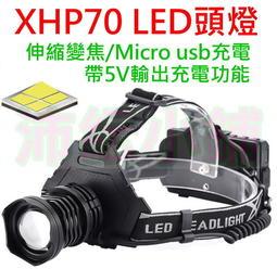 大功率P70 LED頭燈【沛紜小鋪】帶USB輸出電力功能 P70頭燈 伸縮變焦 XHP70 LED強光頭燈 LED頭燈