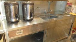 ( 二手) 不銹鋼飲料吧台 工作台(含水槽.儲冰槽)  飲料製作全不鏽鋼吧台