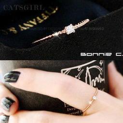拴緊你・925 純銀(金銀粉金)螺旋方晶鋯石線戒指~兔子馬戲團~韓國catsgirl