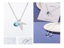 現貨💕人魚泡沫項鍊💕海藍寶石 鍍925銀 韓版 吊墜 含項鍊 生日 情人節 結婚紀念 送禮 銀飾E406