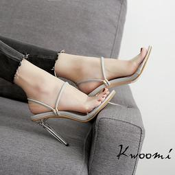 高跟涼鞋 2WAY兩穿細跟性感 高跟拖鞋 高跟鞋 晚宴鞋 新娘鞋 大尺碼35-40*Kwoomi-A63