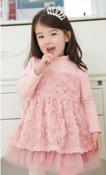 Q 小緁 Q 貨號A0112 春款女童中大 長袖連衣玫瑰公主裙粉色