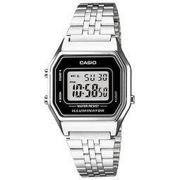 【柒號本舖】CASIO 卡西歐多時區小型鬧鈴電子鋼帶錶-黑 # LA680WA-1 (台灣公司貨)