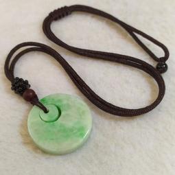🍩平平安安🍩天然緬甸玉 A貨翡翠-飄陽綠 母子 平安釦 項鍊