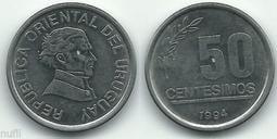 【全球郵幣】烏拉圭 Uruguay 1994  50 Centièmes  AU