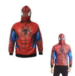 出口美國SPIDER MAN 蜘蛛人~全罩式~面具 薄刷毛連帽外套170cm 以上大童成人