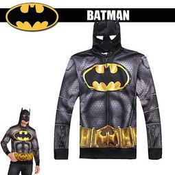 出口美國BATMAN 蝙蝠俠Classic 款面具 薄刷毛連帽外套160cm 以上大童成人