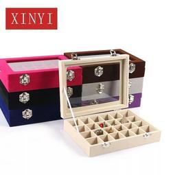 綸綸女性飾品 絨布小號24格珠寶箱 美(速出貨)甲飾品展示盒带玻璃格子珠寶盒小飾品收納盒