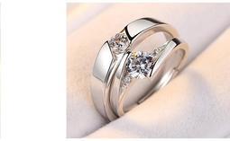 925 純銀伊麗莎皇一心一意情侶對戒活動式戒圍開口式戒指萌萌豬 館