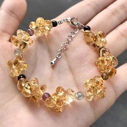『晶鑽水晶』天然黃水晶+碧璽手鍊 總約10mm 小花造型 自編款式 強力招財 氣質 情人節 母親節 禮物 附禮盒