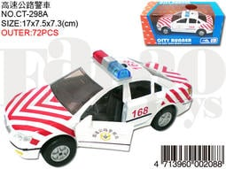 「芃芃玩具」易保 CT298A 高速公路警車(紅白) 合金車塑膠車 音樂燈光迴力車 貨號00208