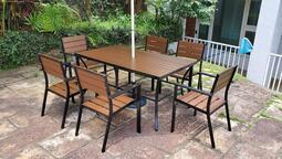 【加百列庭園休閒傢俱】160CM鋁合金塑木長方桌+鋁合金塑木一桌六椅~7-11塑合木桌椅~戶外休閒~庭園景觀餐廳咖啡品茗