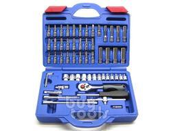台灣工具-《超級特價》綜合二分套筒組/二分套裝工具組(鏡面)、棘輪板手/起子頭/六角凸頭/星型/接桿共58PCS《含稅》