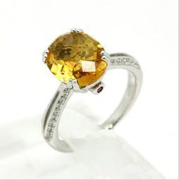 新款彩寶戒指 微鑲手工工藝制作 3克拉黃晶豪華925純銀女戒 FOREVER鑽寶