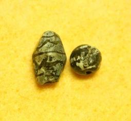 【老古坊】可愛的千年鑲蝕小水紋瑪瑙珠+千年鑲蝕小足球珠~特價