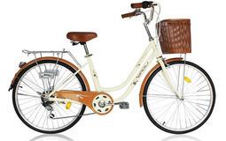 SHIMANO 24吋 6段 變速 可愛 櫻花 牛奶車 淑女車 腳踏車