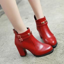 【多色+碼數定制】小碼短靴女靴31 32 33新款秋冬季馬丁靴大碼女鞋高跟粗跟40 41-43