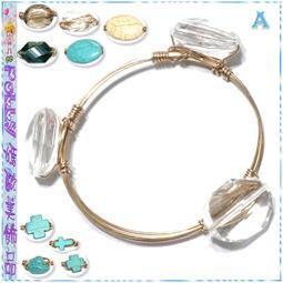 ☆POLLY媽☆歐美進口橢圓十字架土耳其石(松綠石)、玻璃水晶金色鐵絲纏繞手環~9款
