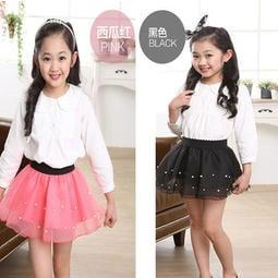童樂會珍珠緞面兒童紗裙短裙蛋糕裙樣式 好女童內搭裙