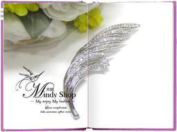~米娣Mindy Shop ︿︿~~MIT 製水鑽華麗羽毛花朵小花精鑲水鑽別針胸針